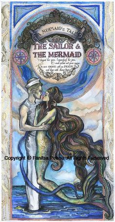 A mermaid done in the style of the Art Nouveau posters. Couache & ink. Hand painted. Copyright © Fanitsa Petrou. All Rights Reserved. View its twin image here: