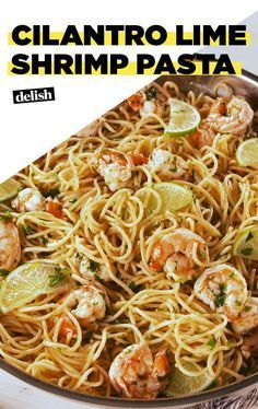 You're going to make this Cilantro Lime Shrimp Pasta on repeat. Get the recipe at Delish.com. #recipe #easyrecipe #easy #dinner #pasta #shrimp #seafood #wine #whitewine #spaghetti #lime #dinnerrecipes #dinnertime #garlic #cilantro