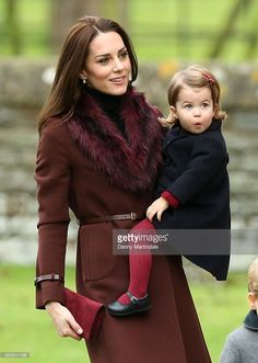 Catherine, Duchess of Cambridge and  Princess Charlotte of Cambridge attend Church on Christmas Day on December 25, 2016 in Bucklebury, Berkshire.  (Photo by Danny Martindale/WireImage)