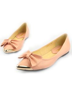 Chanel Flats Pointed Toe Bowknots Nude 8108