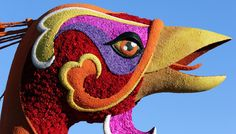 Photos from the 2015 Rose Parade. A close up of the Grand Marshall Trophy winner by Singpoli is displayed on the parade route during 126th Rose Parade Presented by Honda on January 1, 2015 in Pasadena, California.