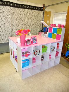 """""""DIY Crafting Desk"""" Made from a few storage shelves and topped with a cut of particle board!"""