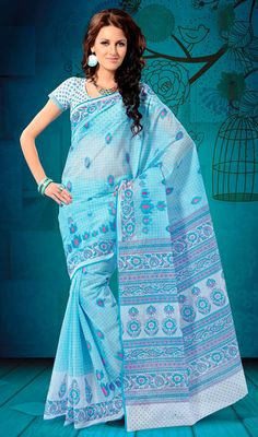 Aqua Blue and Off White Embroidered Cotton Saree Look charming draped in this aqua blue and off white cotton saree. Saree features printed checkered patterns beautifully enhanced with embroidered decorative patterns. Comes with a matching stitched round neck blouse with 6 inches sleeves. #BuyCottonSilkSareesOnline #TraditionalSareesOnline