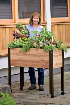 Self Watering Cedar Raised Garden Bed, Standing Garden - All About Gardens Elevated Planter Box, Elevated Garden Beds, Raised Planter Beds, Cedar Raised Garden Beds, Garden Planter Boxes, Vertical Planter, Raised Beds, Deck Planters, Planter Ideas