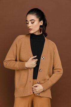 """Oversized Camel Cardigan """"SI"""" Oversized Knit Cardigan, Cream Sweater, Black Knit, Hemline, Camel, Sleeves, Sweaters, How To Wear, Choices"""