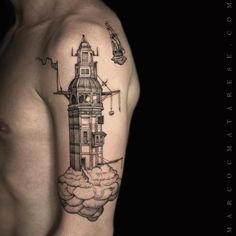 The lighthouse and the ship etching tattoo Marco C. Matarese puro tattoo studio