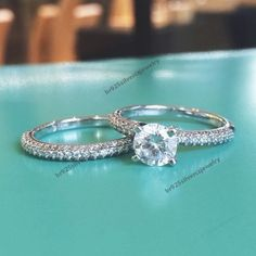 10K White GOLD Plated 1.1/3 CT.T.W Diamond Ring Wedding Bridal Ring Set Pair #br925silverczjewelry #WeddingEngagementAnniversaryBirthdayGift