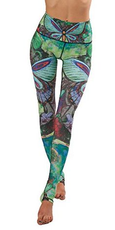 """Yoga Democracy Eco-Friendly Butterfly Leggings (28"""" Inseam) (XS) Based on an acrylic painting and transferred to the digital format, Butterfly is as unique as it is breathtaking. A soft palette of greens, blues and purples makes this a stunning piece of wearable art. Techno-fabric that's breathable and sweat-wicking for hot and sweaty workouts. Rated excellent for UPF protection (equivalent to UVB/UVA 40-50+) High, no-fuss waistband that smooths over your tummy area El"""