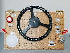 DIY play dashboard with steering wheel, flippable switches, lights and a bell #kids #DIY #car