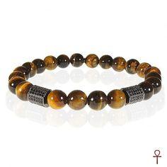 Tiger's Eye Gemstone Men Bracelet #men #menbracelet #menfashion #tigerseye #gemstone #menstyle #brown #black