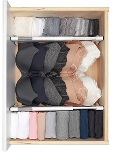 Organization bedroom - These drawers dividers help organize any drawer and are easy to install requiring no tools! Make organizing, tidying, simplifying and decluttering your bedroom fun and easy with these musthave Master Dresser Drawer Organization, Home Organisation, Bedroom Organization, Organization For Clothes, Small Closet Organization, Organized Bedroom, Underwear Organization, Organize Bedroom Closets, Organizing Ideas