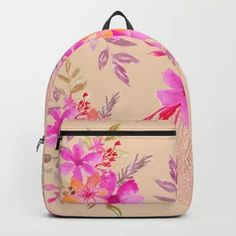 Bouquet of flowers - light pink Backpack Light Pink Backpack, Yellow Backpack, Green Backpacks, Tech Accessories, Bouquet, Wall Art, Flowers, Bags, Design