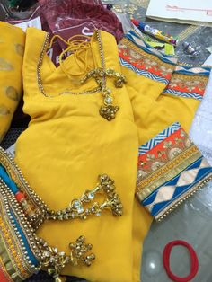 Beautiful yellow and blue suit made in India.
