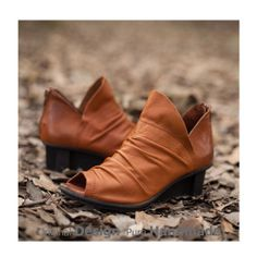 Women peep toe leather ankle boots/handmade leather by docool, $185.89 #madeinUSA