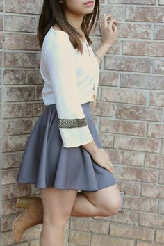 Charcoal bella skater skirt fall into winter fashion outfits Cute Skater Skirts, Skater Skirt Outfit, Cute Skirts, Skirt Outfits, Short Skirts, Dress Skirt, Mini Skirts, Cute Winter Outfits, Winter Fashion Outfits