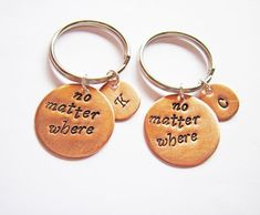 best friend keychains initial key chains moving gift by RobertaValle