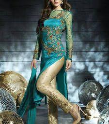 Buy Teal Blue  embroidered net semi_stitched salwar with dupatta eid-special-salwar-kameez online