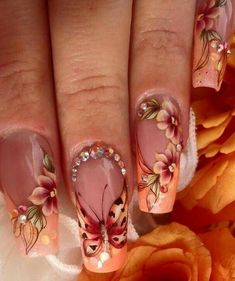35 Best Fall Nail Designs and Ideas Must Try - Dream nails - Nail Butterfly Nail, Flower Nail Art, Metallic Nails, Cute Acrylic Nails, Fall Nail Art Designs, Acrylic Nail Designs, Long Nails, My Nails, Winter Nail Art