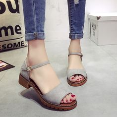 6fe72020f5f5b Summer Floral Sandals Fish Mouth Women Sandals Pu Suede Retro High Heels  Square Heel Woman Buckle
