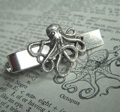 Silver Octopus Mens Tie Clip Nautical Steampunk Style Gothic Victorian Vintage Inspired Mens Tie Bars Accessories & Gifts