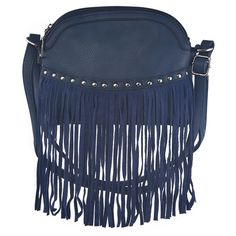 Petrol Blue Cross Body Fringed Bag ($51) ❤ liked on Polyvore