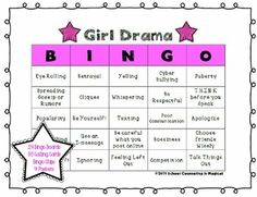"""help adolescent girls (5th-8th grade) learn how to better handle friendship drama.   Topics include: *Causes of Girl Drama *Girl Drama in Action *Avoiding Girl Drama  What's included?  •14 different bingo cards •35 different bingo calling cards (includes descriptions to help aid in group discussion) """"http://www.teacherspayteachers.com/Product/Drug-Awareness-Bingo-1260718"""">Drug Awareness Bingo</a> <a href=""""http://www.teacherspayteachers.com/Product/Calm-Down-Bingo-1209559"""">Calm Down…"""