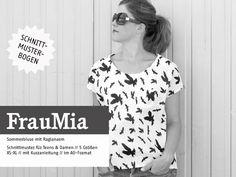 *FrauMIA* - lockere Raglanbluse Schnittmuster   Mit FrauMia kann das Thermometer gar nicht hoch genug klettern! Diese lockere Bluse mit Raglanärmel und nach hinten verlängertem Saum läßt überall...