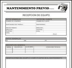 Formato Para Recepcion Del Equipo Formato Para Reporte De Mantenimiento Formato Para Entrega Del Mantenimiento Orden De Servicio Mantenimiento Preventivo