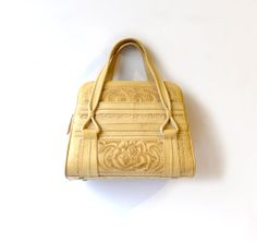 Vintage  tooled cream mexican leather boho handbag by evaelena, $79.00
