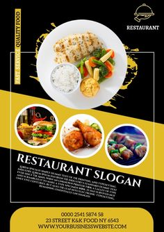 Design created with PosterMyWall East Restaurant, Restaurant Flyer, Restaurant Advertising, Food Advertising, Food Menu Design, Food Poster Design, Bakery Shop Design, Youtube Banner Design, Graphic Design Flyer