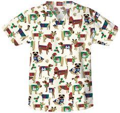 Dickies scrub top - dogs in Christmas sweaters!