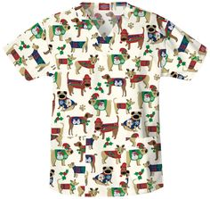 Dickies scrub top - dogs in Christmas sweaters!