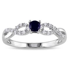 Lab-Created Blue Sapphire and Diamond Accent Promise Ring in Sterling Silver - Zales