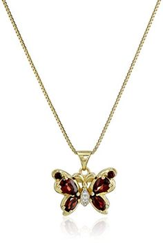 18k Gold Over Sterling Silver Garnet and Created White Sapphire Accent Butterfly Pendant Necklace 18'...