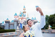Don't forget to snap a fun selfie on your wedding day - especially if the iconic Sleeping Beauty Castle is the backdrop!