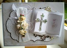 Debbie Stevens card Wedding Anniversary Cards, Wedding Cards, First Communion Cards, Confirmation Cards, Tattered Lace Cards, Spellbinders Cards, Card Book, Easel Cards, Marianne Design