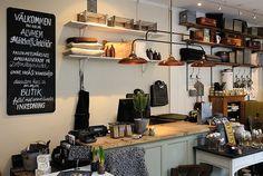 ++ via trendenser kitchen, belfast sink, wooden units, shelving, black board, chalk board, clutter