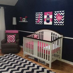 Navy, white and hot pink nursery