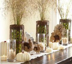 Green, brown & white Thanksgiving decor
