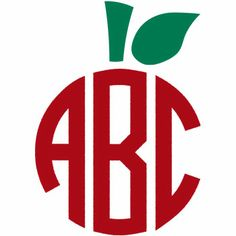 Apple Monogram Teacher Decal - Red and Green