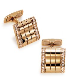 Cellini Jewelers - Gold and Diamond Cufflinks 18-karat rose gold cufflinks accented with white diamonds.