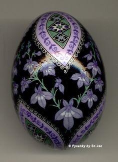 Made To Order: Pale Spiked Lobelia Pysanka Batik Blue Duck Easter Egg Art EBSQ Plus