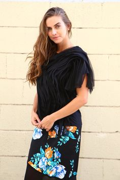 Wear this #black #tulletop in #ruffle fashion and be the talk of town in an evening party!