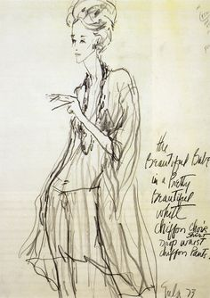 Babe Paley in Halston, illustrated by Joe Eula, 1973.