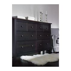 HEMNES 8-drawer dresser, black-brown black-brown 63x37 3/8