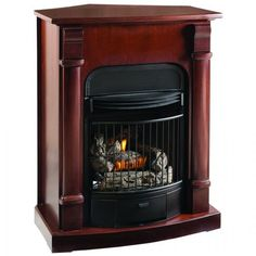 Athens Corner Tower Mantel with Arched Ventless Fireplace ...