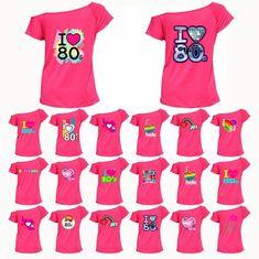 ff21bef6 Kostüme Kleidung & Accessoires I Love 80s TShirt Top 80's Ladies Off  Shoulder Disco Retro Festival 6016455® Lot