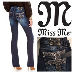 "Miss Me Dark Wash Cross From Miss Me, these woven stretch bootcut jeans feature: curvy silhouette mid-rise fit 5-pocket styling flat back pockets rhinestone embellished cross appliques button/zip-fly closure approx. 34"" inseam cotton/spandex machine wash Imported. Miss Me Jeans Boot Cut"