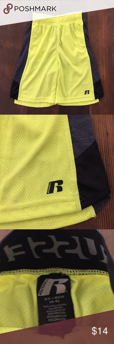Russell Athletic Shorts, XS (4-5) Russell Athletics Shorts, XS (4-5), dri-power 360 Shorts in neon yellow, black elastic waist band, charcoal grey stripe down side. Hand pockets. Super light weight. EUC Russell Athletic Bottoms Shorts