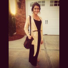 Post pregnancy looks to try: black maxi dress, tan cardigan, brown belt & bag! Trying to make the most of my closet!